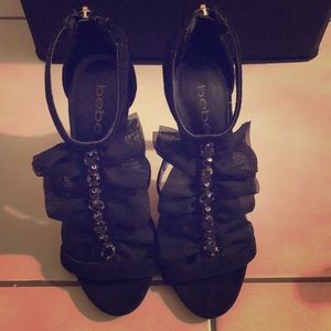 BEBE Chiffon Black Jewel High Heels size 7